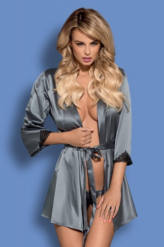 Пеньюар Obsessive Satinia robe Grey, размер XXL