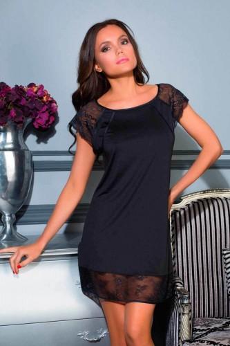 Сорочка Elegance de lux с кружевом, черная L