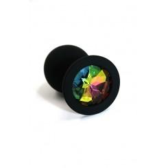 Анальная пробка из силикона с разноцветным кристаллом Kanikule, черная