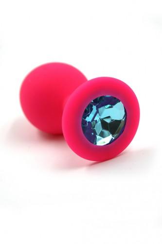 Анальная пробка из силикона Kanikule с голубым кристаллом, розовая