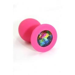 Анальная пробка из силикона розовая с разноцветным кристаллом
