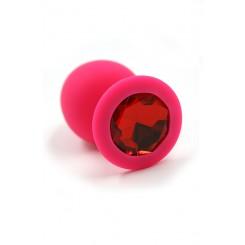 Большая анальная пробка из силикона розовая с красным кристаллом