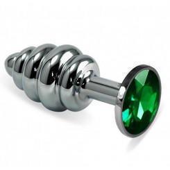 Анальная втулка Silver Spiral с зелёным кристаллом