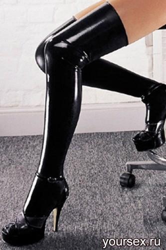Латексные Чулки Sharon Sloane - Latex Stockings Small, черные