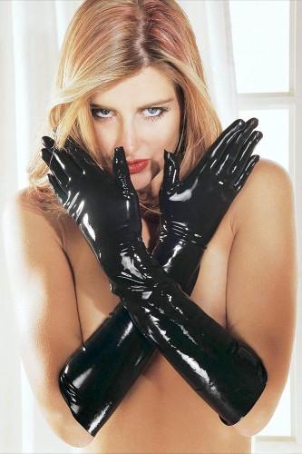 Латексные перчатки Sharon Sloane - Latex Gauntlets Large, черные