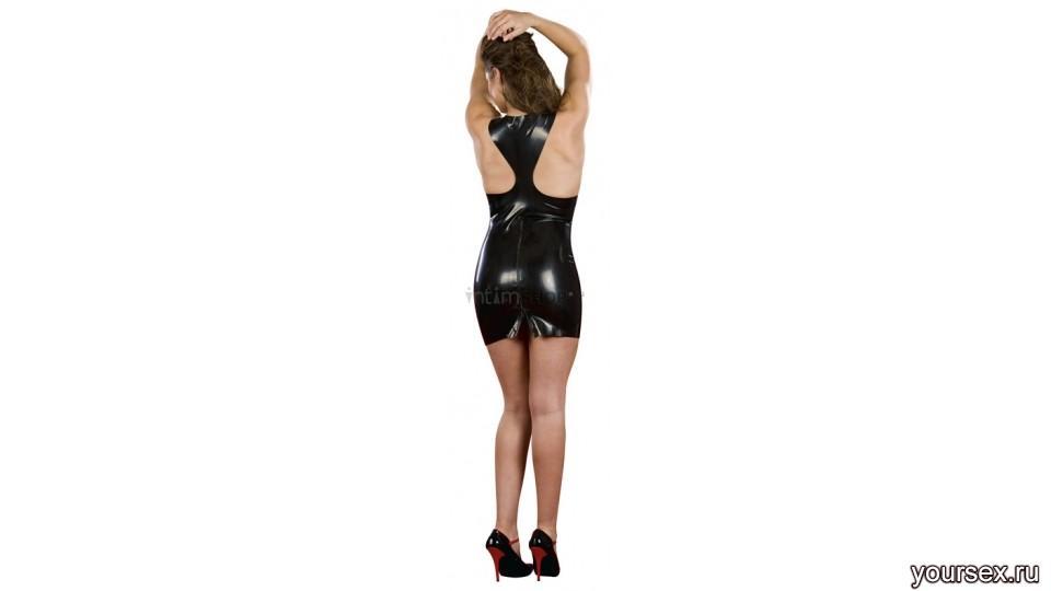 Латексное платье ZIPPER DRESS BLACK M/L