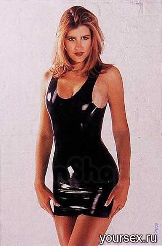 Платье Sharon Sloane - Latex Mini Dress Small, цвет черный